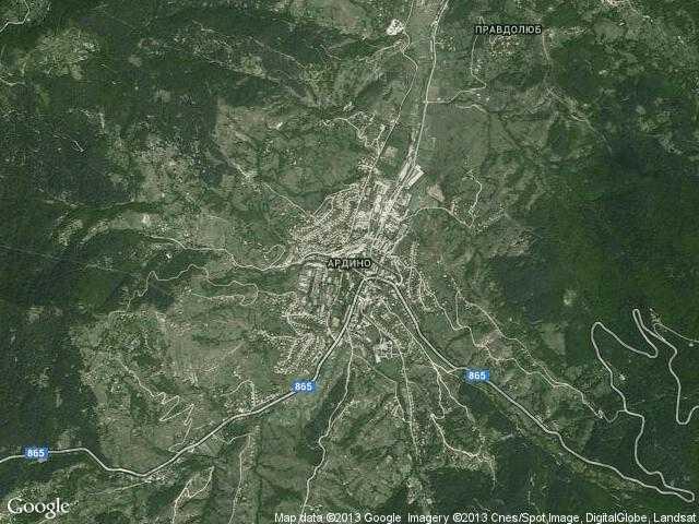Сателитна карта на Ардино
