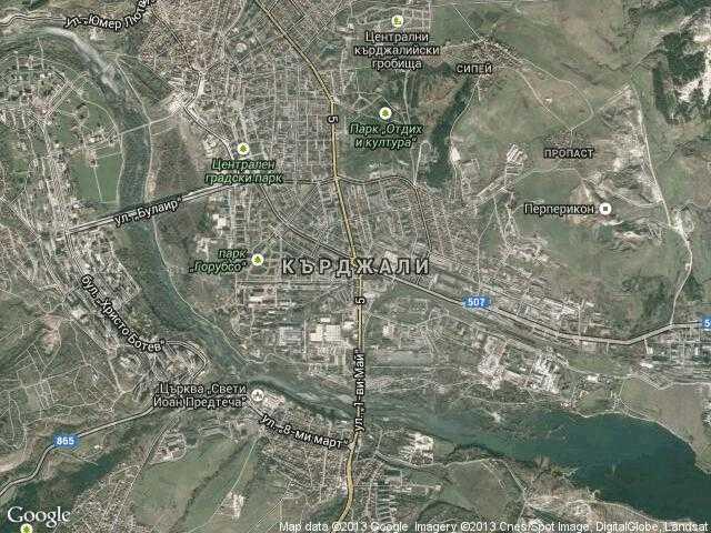 Сателитна карта на Кърджали