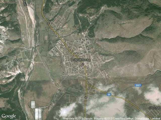 Сателитна карта на Момчилград