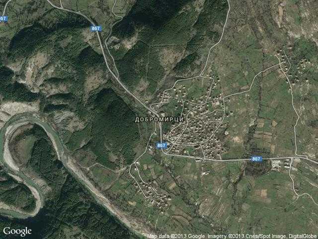 Сателитна карта на Добромирци