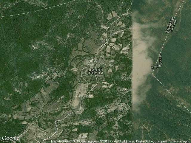 Сателитна карта на Долни Юруци