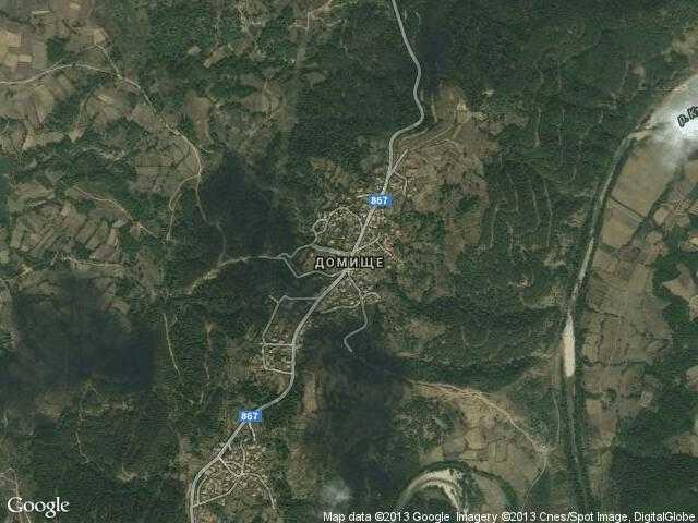 Сателитна карта на Домище