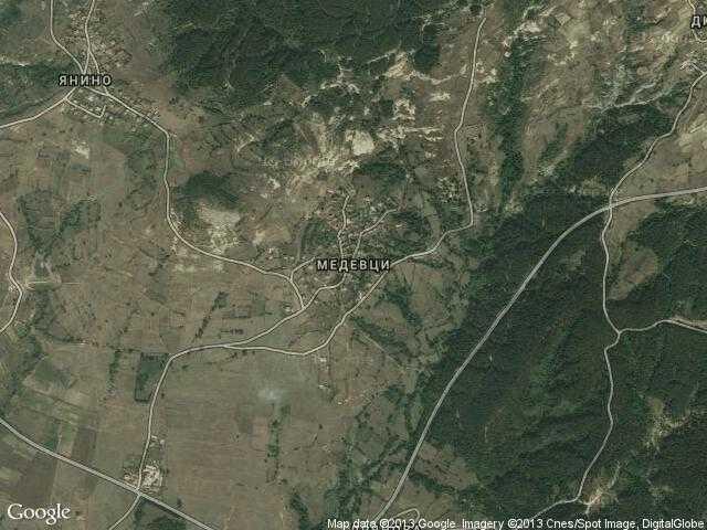 Сателитна карта на Медевци