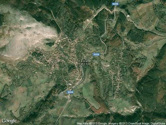 Сателитна карта на Рани лист