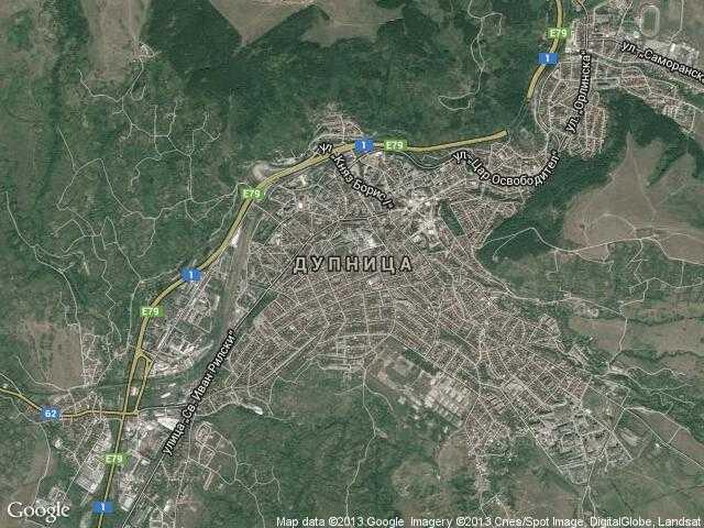 Сателитна карта на Дупница