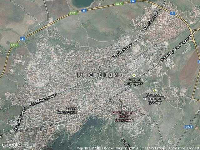 Сателитна карта на Кюстендил