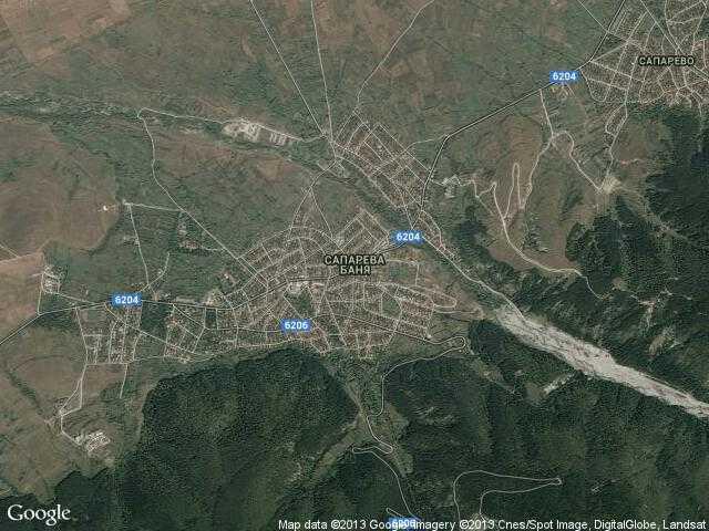 Сателитна карта на Сапарева баня
