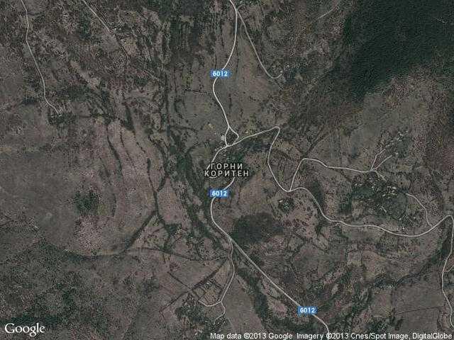 Сателитна карта на Горни Коритен