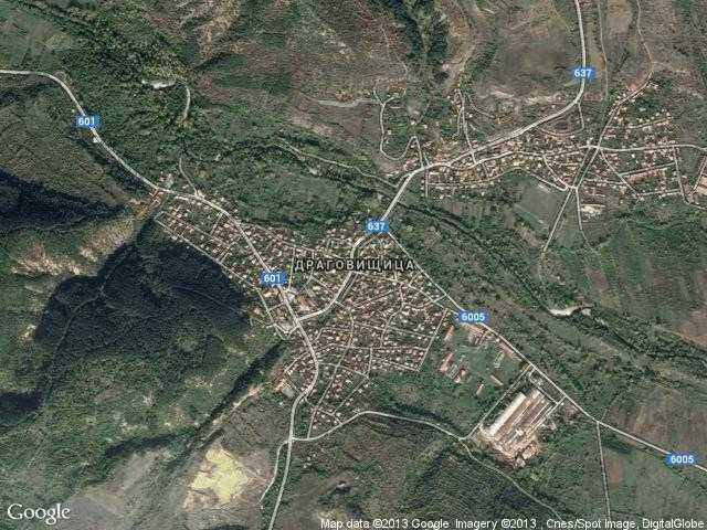 Сателитна карта на Драговищица