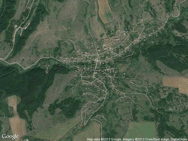 Сателитна карта на Тополница