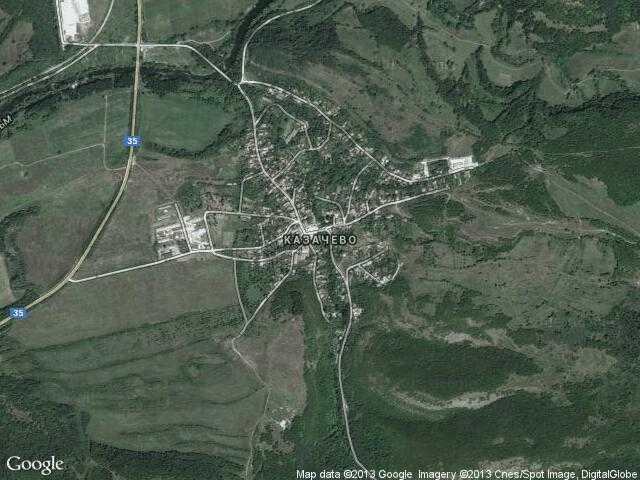 Сателитна карта на Казачево