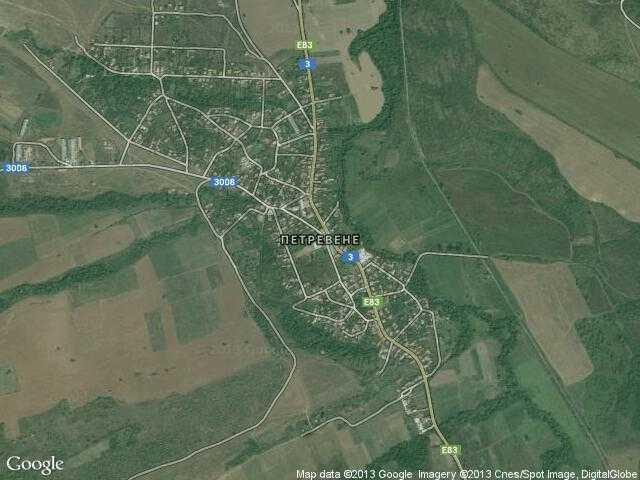 Сателитна карта на Петревене