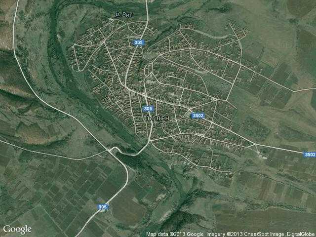 Сателитна карта на Ъглен