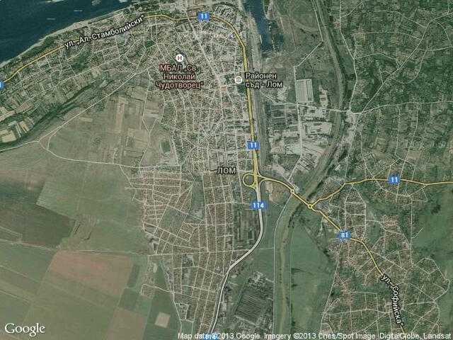 Сателитна карта на Лом