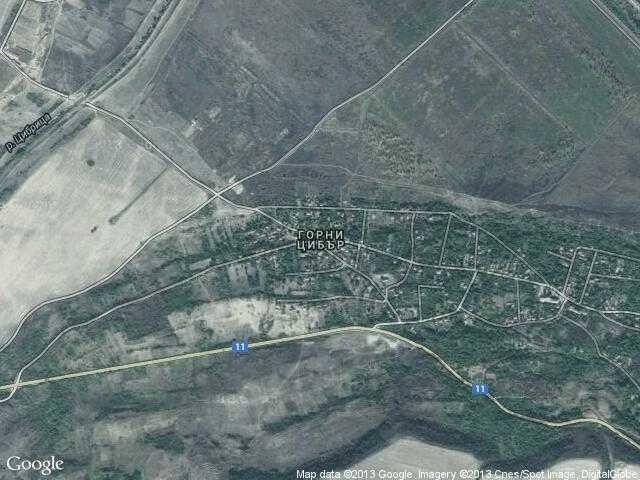Сателитна карта на Горни Цибър