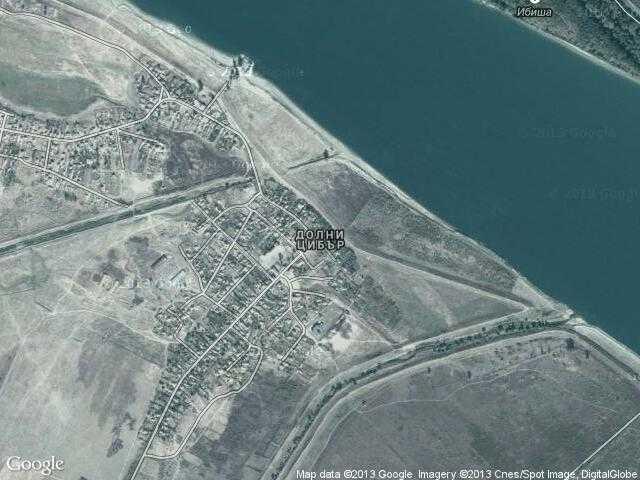 Сателитна карта на Долни Цибър