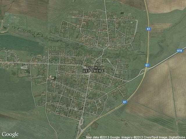 Сателитна карта на Долно Церовене