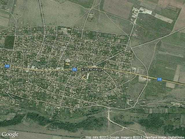 Сателитна карта на Ковачица