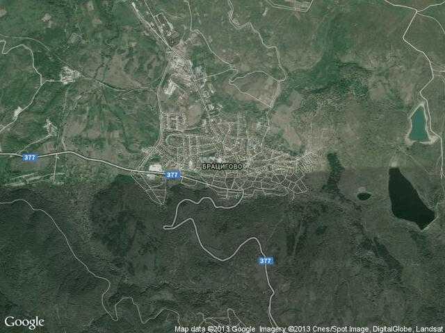 Сателитна карта на Брацигово