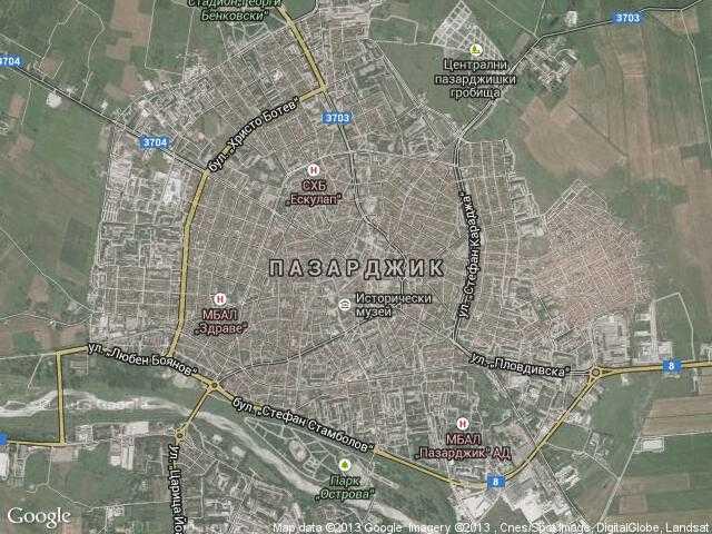 Сателитна карта на Пазарджик