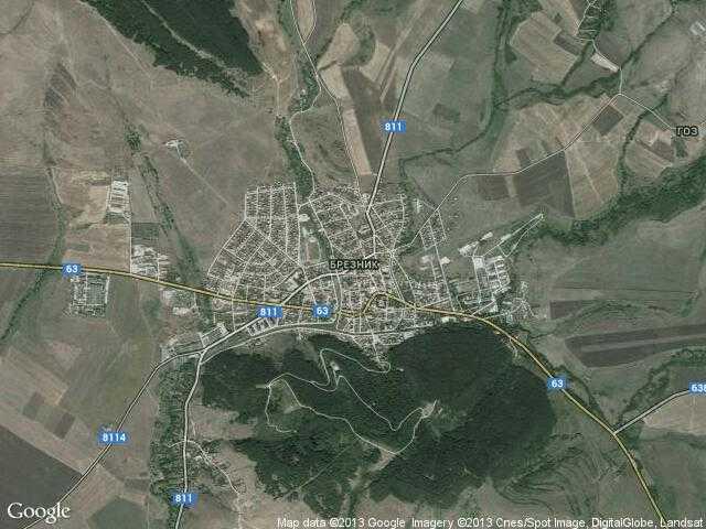Сателитна карта на Брезник