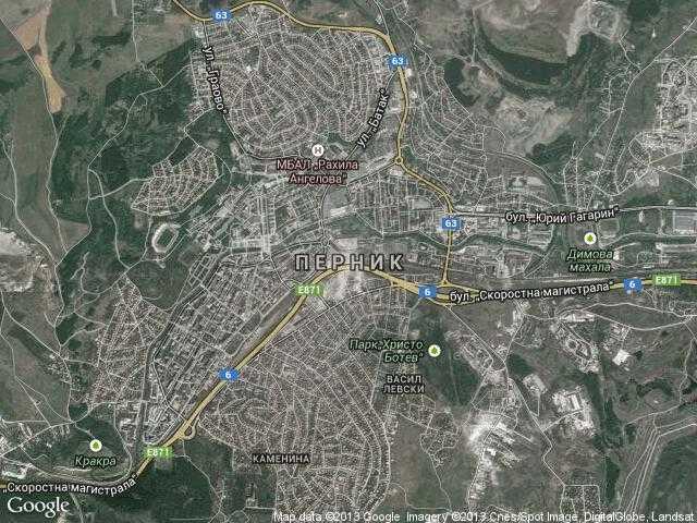 Сателитна карта на Перник