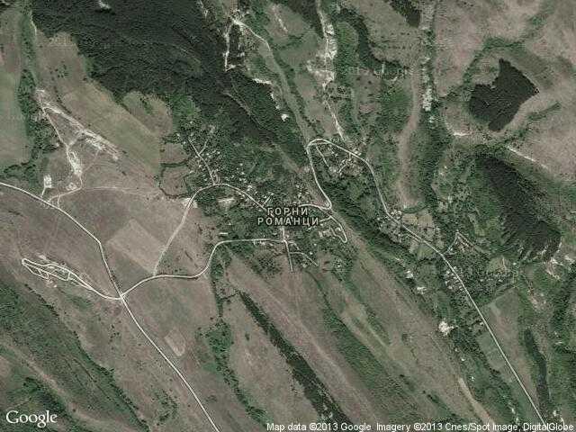Сателитна карта на Горни Романци