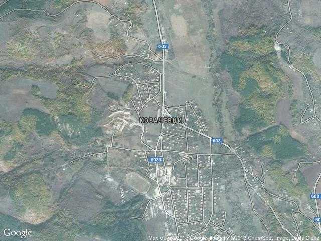 Сателитна карта на Ковачевци