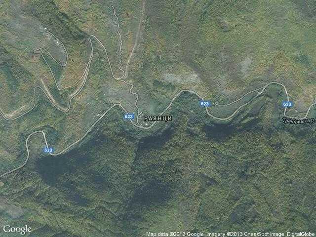 Сателитна карта на Раянци