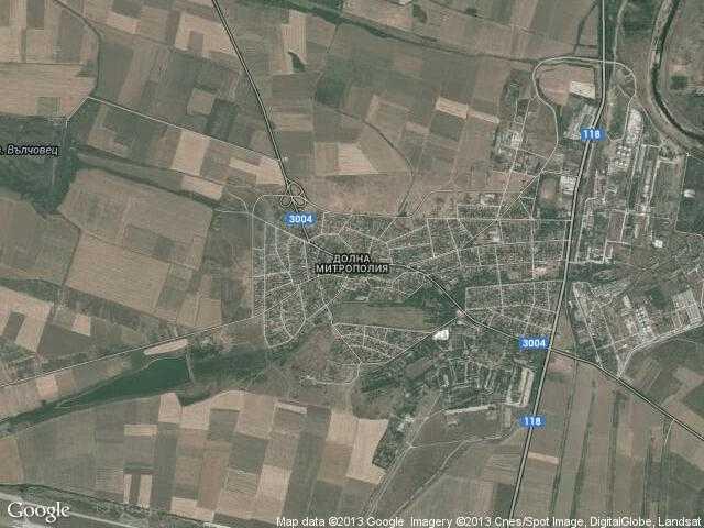 Сателитна карта на Долна Митрополия