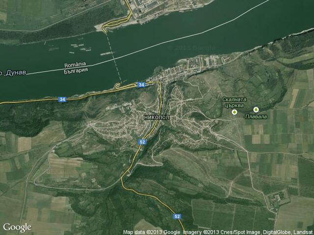 Сателитна карта на Никопол