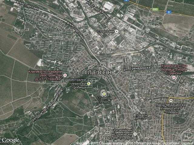 Сателитна карта на Плевен