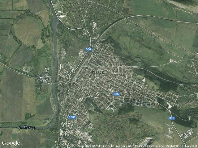 Сателитна карта на Червен бряг