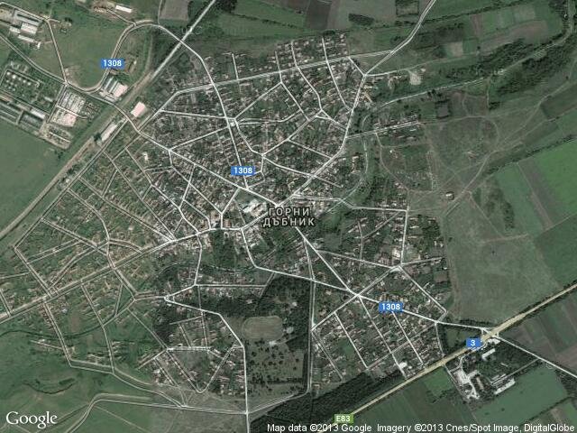 Сателитна карта на Горни Дъбник