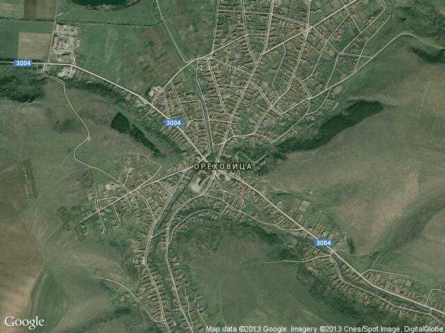 Сателитна карта на Ореховица