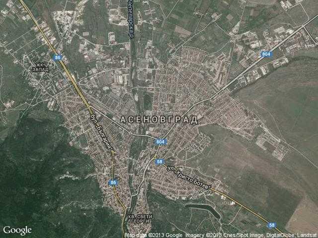 Сателитна карта на Асеновград