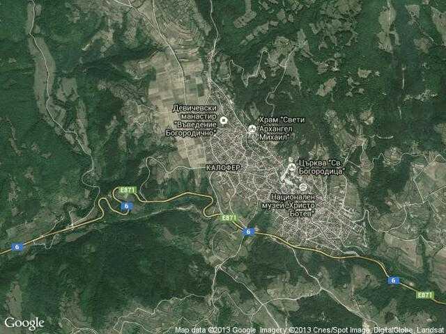 Сателитна карта на Калофер
