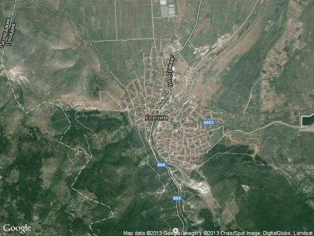 Сателитна карта на Кричим