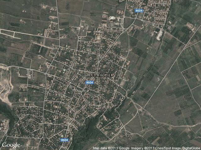 Сателитна карта на Белащица