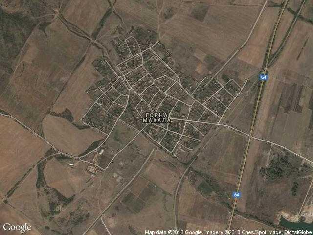 Сателитна карта на Горна махала