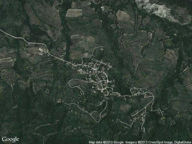 Сателитна карта на Извор