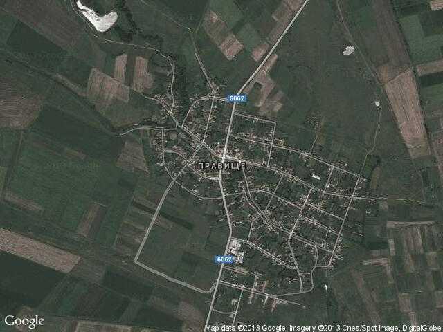 Сателитна карта на Правище