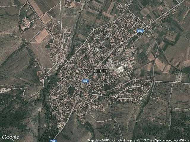 Сателитна карта на Първенец
