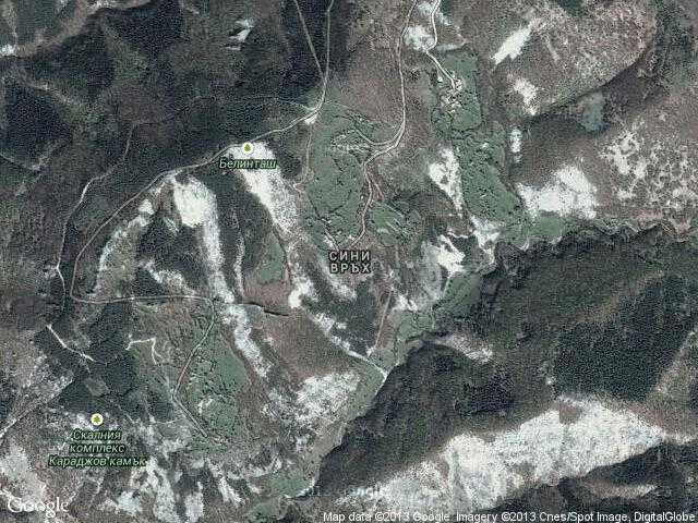 Сателитна карта на Сини връх