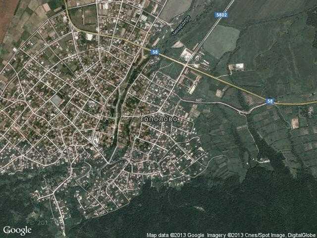 Сателитна карта на Тополово