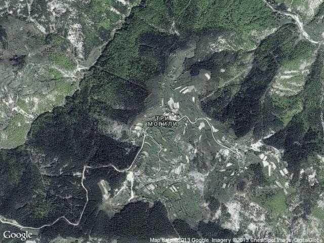 Сателитна карта на Три могили