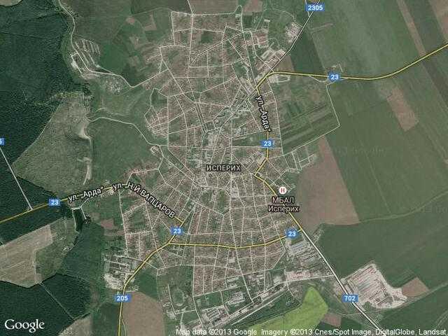 Сателитна карта на Исперих