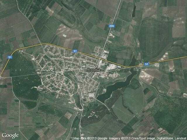 Сателитна карта на Лозница