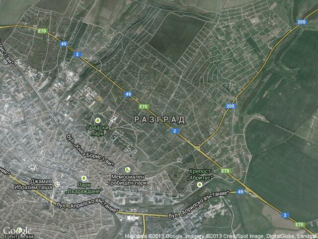 Сателитна карта на Разград