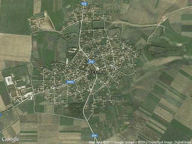 Сателитна карта на Веселец